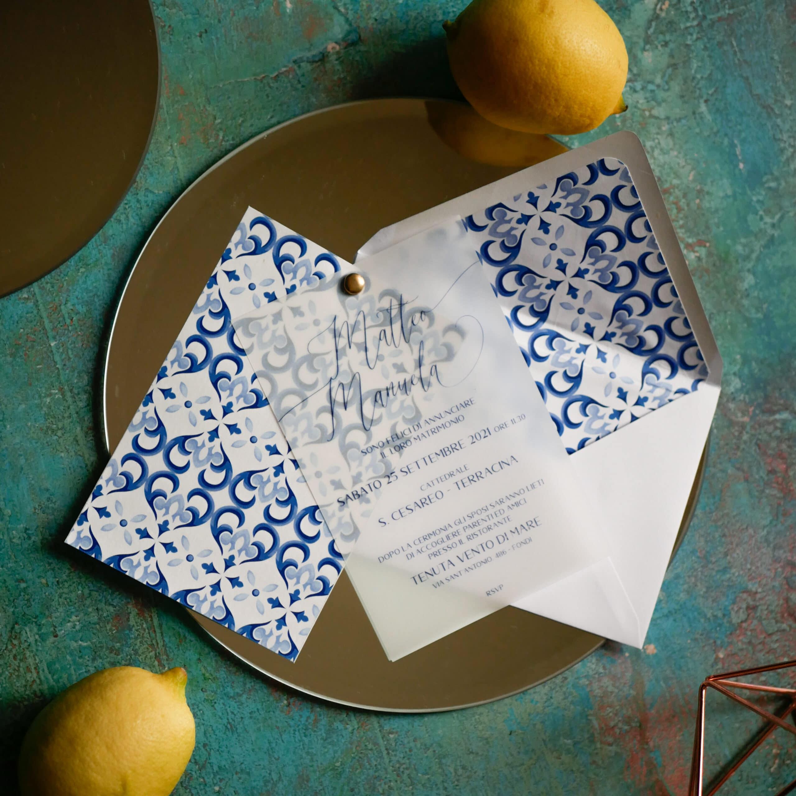 Partecipazione stile amalfi/sorrent/riviera amalfitana/limoni